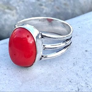 Sundance red Botswana AGATE RING sterling silver 8